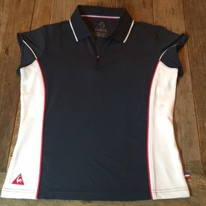 Le Coq Sportif Navy Blue White Red Athletic Shirt
